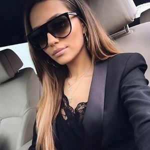 Accessories - Just in! !Black Thin Flat Top Oversized Sunglasses